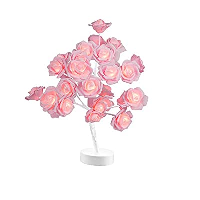 Table Lamp Rose Flower Desk Tree Lamp Gift for Girls Women Teens Home Décor for Wedding Christmas Living Room Bedroom Party with 24 Warm White LED Lights |Two Modes: USB/Battery Powered(White)… from BAIHAN