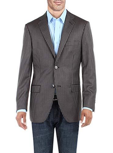 DTI BB Signature Men's 2 Button Micro Check Suit Jacket Modern Fit Blazer Coat (46 Regular US / 56R EU, Gray)