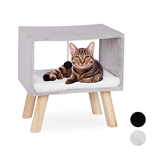 Relaxdays, grau Katzenhocker, Haustierhocker für Katzen, Spielball & Kissen, Katzenhöhle Hocker, 41 x 40,5 x 30,5 cm, 30,5 x 40,5 x 41 cm