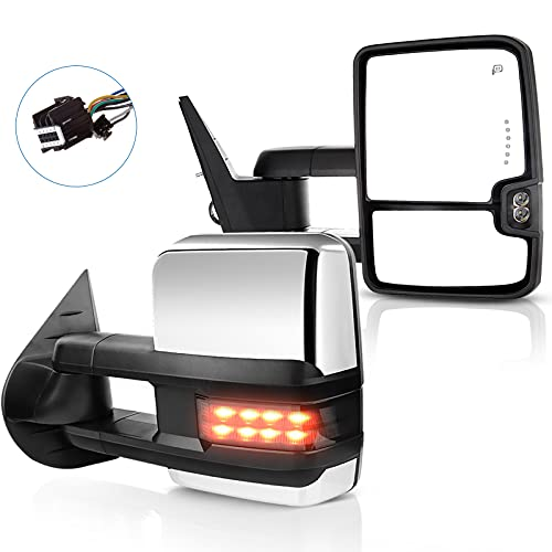 ECCPP fit for Chevy Towing Mirrors GMC Power Heated LED Turn Arrow Signal Lights Reverse Light Tow Mirrors for 2008-2013 for Chevy Silverado GMC Sierra All Models 2007 Silverado Sierra New Body Style