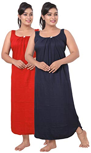 fasla Women's Cotton Fabric Long Chemise Slip, Navy Blue&RED, Size-XXL