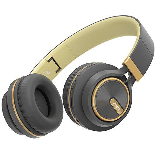 ACURE AC01 Auriculares inalámbricos Bluetooth Diadema Auriculares Plegables con micrófono HD/Tarjeta TF/Modo con Cable Desmontable para PC TV Teléfono Celular iPad MP3 (Oro Gris)