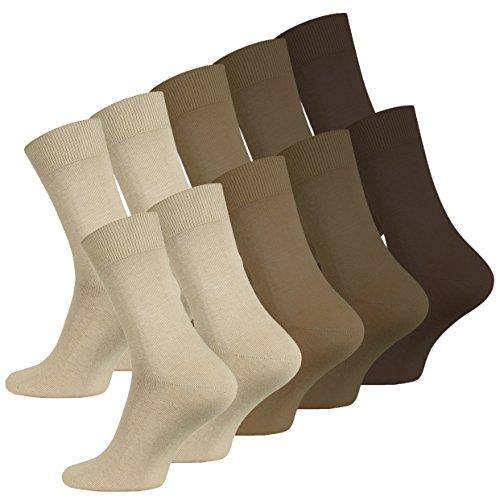 VCA 10 Paar Herren Socken, glatt gestrickt, Baumwolle, Spitze Handgekettelt, Venenfre&lich (39/42, sand-braun sortiert)