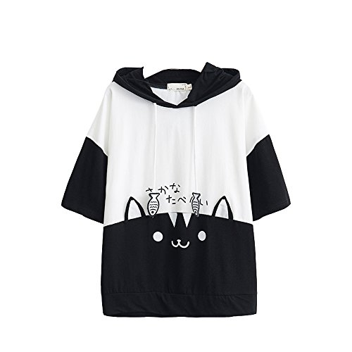 T-shirt à capuche en coton à manches courtes pour femme Motif chat et poisson - Blanc - Large