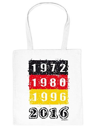 Stofftasche mit Fußballmotiv - Europameisterschaft - 1972, 1980, 1996, 2016 - EM 2016 - weiß