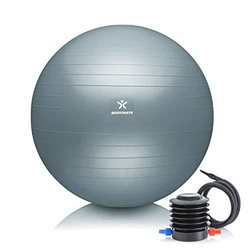 BODYMATE Gymnastikball mit GRATIS E-Book inkl. Luft-Pumpe COOL-Grey-Blue 55cm