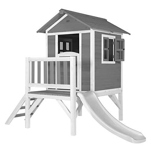 AXI Spielhaus Beach Lodge XL in Grau mit Rutsche in Weiß | Stelzenhaus aus FFC Holz für Kinder | Kleiner Spielturm für den Garten