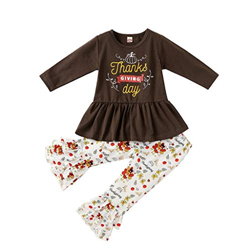 Newborn Baby Girls Bell Bottom Pants 2Pcs Christmas Ourfits Toddler Baby Cute Girl Thanksgiving Day Outfits Long Sleeve Turkey Print Ruffle Tops Flare Pant Xmas Clothes Set Brown
