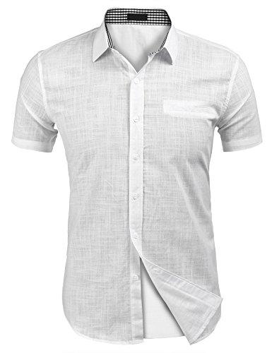 Herren Kurzarm Leinen Hemd Henley Kurzarm Hemd Freizeit Hemden Sommer Hemd weiß s