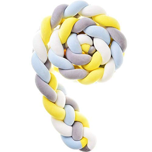 Cxssxling - Protector de cuna de 4 partes, cojín de serpiente trenzado, paragolpes para cuna, cuna de bebé, cuna para los recién nacidos, cama para dormir (gris + blanco + azul + amarillo, 3 m)
