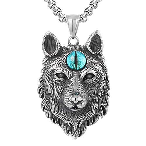 EzzySo Colgante SkyEye Wolf Head, Vikingo gótico, Collar de Acero de Titanio, Adecuado para Caballeros, Halloween, Fiestas, Hombres y Mujeres (incluida la Cadena),A