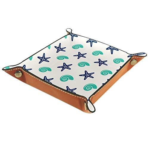 AITAI - Bandeja de cuero vegano para mesita de noche, organizador de escritorio, con estrella de mar y caracol
