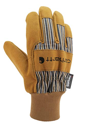 Carhartt Men's Insulated System 5 Suede Work Glove with Knit Cuff, Brown, Medium