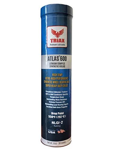 Triax Atlas 600 Grease, Full Synthetic High Temp NLGI-2, Wheel Bearing, Heavy Duty Ultra High Performance, Virtually Waterproof (Marine), High Adhesion, High EP Rating (14 Ounce Tube)