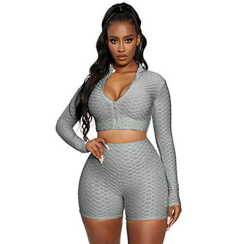 LUCSUN Damen Sport 2 Stück Yoga Outfits Langarm Cropped Tops und High Waist Butt Lift Biker Shorts Workout Sets Gr. 48, grau
