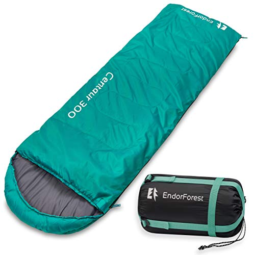 Endor Forest Envelope Sleeping Bag - Single 3/4 Season Sleeping Bags for Adults and Sleeping Bags for Kids Outdoor Camping - Lightweight, Compact and Water Resistant for a Comfortable Warm Sleep.