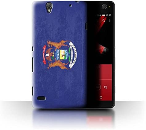Phone Case for Sony Xperia C4 Vintage USA State Flag Michigan Design Transparent Clear Ultra product image