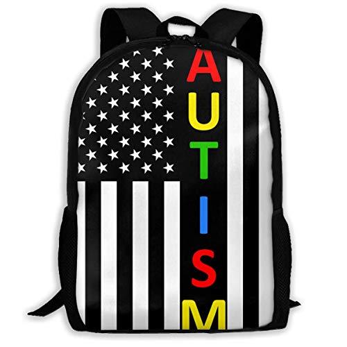 Mochilas para Adultos, Rompecabezas de concienciación sobre el Autismo, Bandera de EE. UU, Mochila Escolar, Mochila de Viaje, Bolso de Hombro