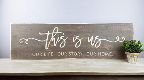 HRHRHREU This is Us Printed Wooden Farmhouse Sign with Frame Living Room Wood Sign Our Life Our Story Our Home