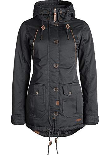 DESIRES Annabelle Damen Übergangsparka Parka Übergangsjacke Lange Jacke mit Kapuze, Größe:S, Farbe:Dark Grey (2890)