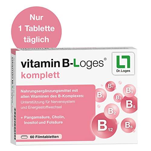 vitamin B-Loges® komplett Nahrungsergänzung - 60 Tabletten, Komplex aus allen B-Vitaminen und Vitaminoiden, Vitamin B1 B2 B3 B5 B6 B7 für Nerven und Energiestoffwechsel
