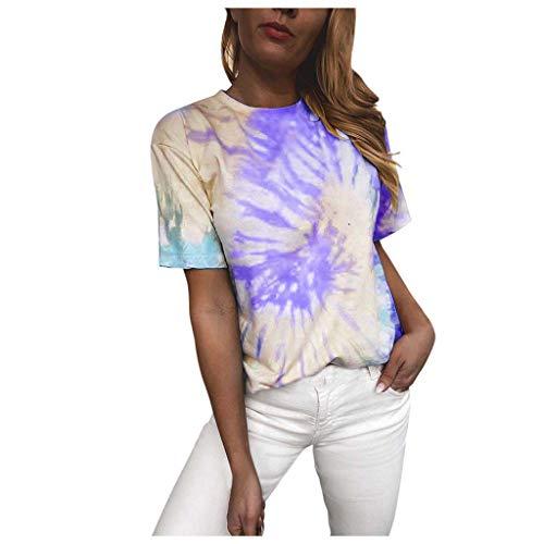 Andouy Damen Tie-Dye T-Shirt Farbverlauf Kurzarmhemd Oversize Bunte Rundhals Casual Oberteile(2XL.Lila)
