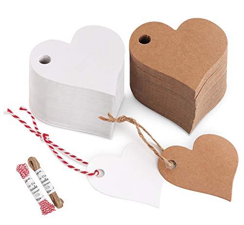 200stk. Herz Kraftpapier Anhänger Etiketten Stern Geschenkanhänger und Jute Schnur 20M für Hochzeit Geschenke zum Basteln (Herz Kraftpapier Anhänger)