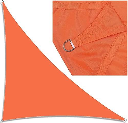 3x3x4.3m Dreieck Sonnenschirm Segel Wasserdicht, rechte Winkelgarten Segelüberdachung mit Metallbefestigungen, UV-Block, Outdoor-Sonnenschirme Sonnencreme-Markisen für Patio-Deck-Hinterhof(Orange)