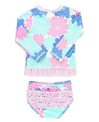 RuffleButts Girls Pastel Floral Long Sleeve UPF 50+ Rash Guard Bikini Swimsuit - 3T