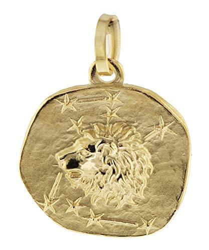 trendor Sternzeichen-Anhänger Löwe 585 Gold 16 mm Gold Anhänger Sternzeichen für Damen, Herren und Kinder, schönes Sternzeichen Echtgold, Anhänger Gold, 08965