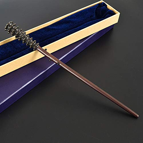 GAOLONG Varita de Cosplay Accesorios de película, Varita de Harry Potter Hermanos Gemelos Fred Weasley Bastón Varita mágica de núcleo metálico,Purple Box,36cm
