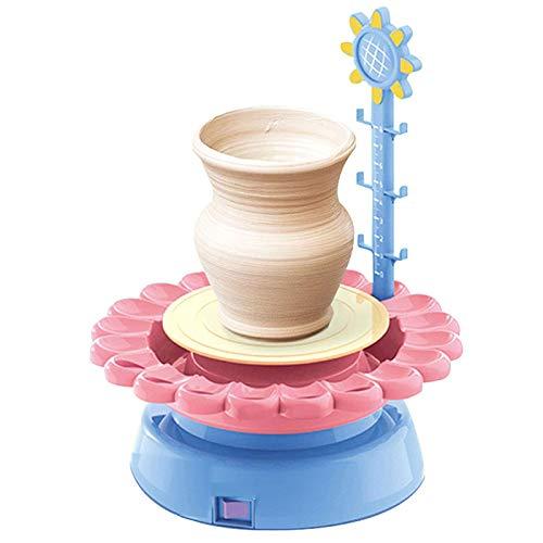 ZSS Mini Máquina de Rueda de Cerámica Mini Pottery Wheel Machine Turntable Electric Yema del Dedo DIY Clay Tool con Bandeja para Adultos Niños Cerámica Art