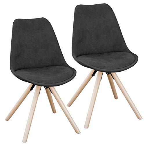 SVITA 2er Set Esszimmerstühle rund Polsterstuhl Stuhl-Gruppe Küchen-Stuhl Blau, Grau oder Schwarz Kunstleder Retro (schwarz)