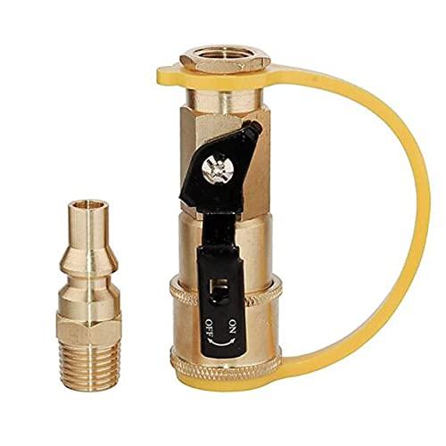 QSMIANA Adaptador Tanque propano 1/4'Válvula De Bola Conector Rápido Conector De Conversión De Cobre RV Conector Rápido Conector De Ajuste Propano Air Pipe Fitting-A