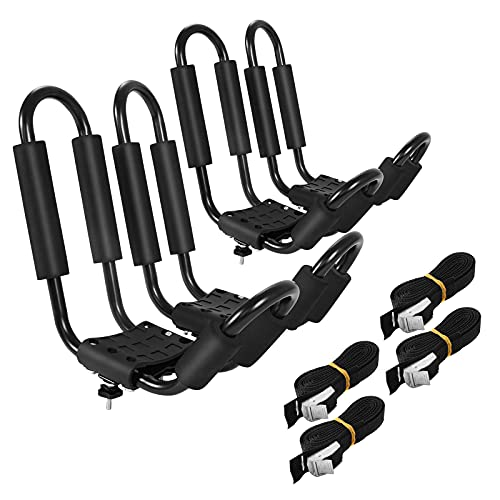 GYMAX 2Pairs Universal Kayak Roof Rack, J-Bar Roof Top Carrier with Straps, Foam Pad & Buckles, Mount Crossbar on SUV Van Car for SUP, Boat, Kayak, Canoes, Ski Board