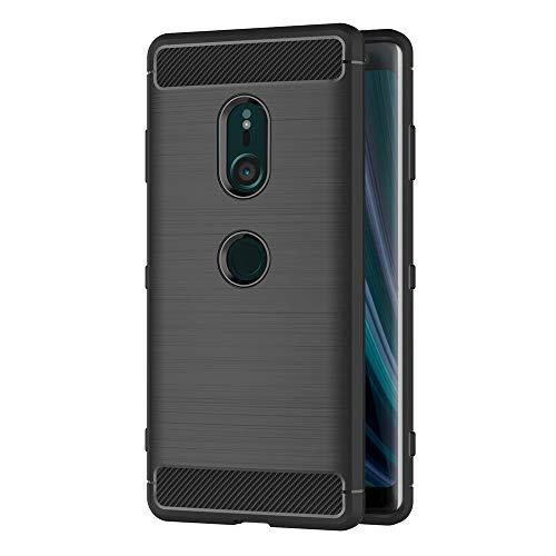 AICEK Coque Sony Xperia XZ3, Noir Silicone Coque pour Sony XZ3 Housse Fibre de Carbone Etui Case (6,0 Pouces)