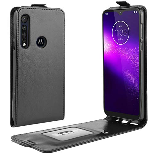 HualuBro Motorola One Macro Hülle, Moto G8 Play Hülle, Premium PU Leder Brieftasche Schutzhülle HandyHülle [Magnetic Closure] Handytasche Flip Hülle Cover für Motorola One Macro Tasche (Schwarz)