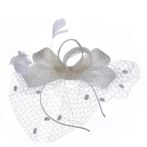 Ouken Europäisches Haarnetz Kopfschmuck Mysterious Schleier Kopfschmuck Klipp Kopfbedeckung für Cocktailparty-Tee-Party-Beige 1PC.