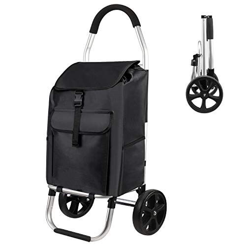 MFAVOUR Shopping Trolley, Folding Shopping Trolley on Wheels with...