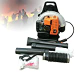 DYRABREST Professional 65cc 3.6 HP Backpack Leaf Blower, Single Cylinder Bag Engine Air Cooling 2 Stroke with Adjustable Outlet Length Nozzle for Household/Industrial/Lawn Care