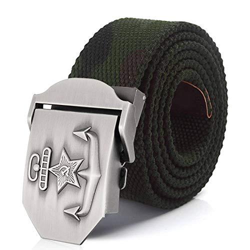 NSXLSCL Cinturón Táctico Militar - Cinturón De Lona Unisex con Hebilla De Metal con Pentagrama Azul Marino - Cinturón Elástico Tejido Informal Ajustable para Hombres Y Mujeres Correa De Cintura