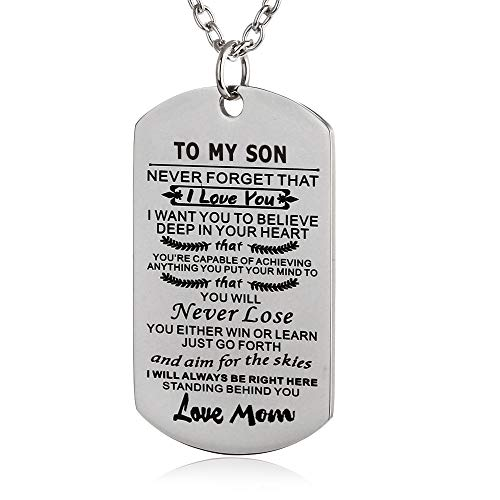 FAYERXL to My Amazing Daughter Son Dog Tag Necklace Gift Ideas from Dad Mom Inspiration Quote Gift