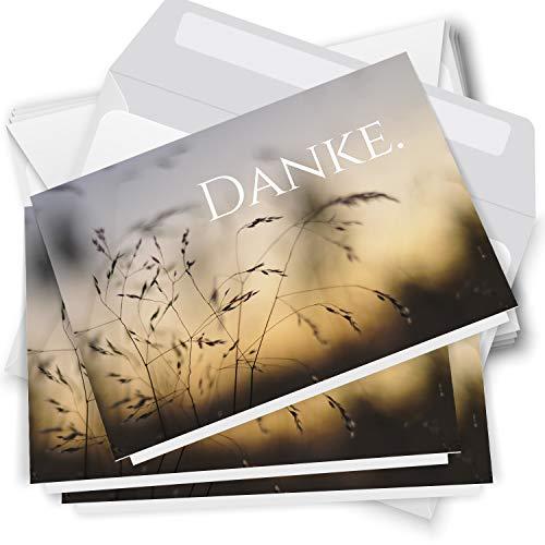 Trauer Danksagungskarten mit Umschlag | Motiv: Gräser, 10 Stück | Dankeskarten DIN A6 Set | Klappkarten-Trauerkarten Danksagung Danke sagen