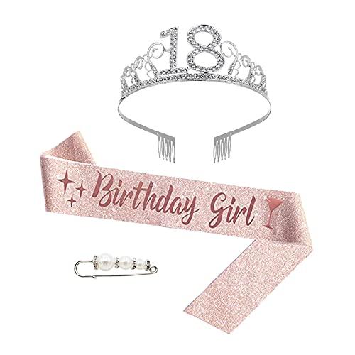Zhenyuding Corona de Cumpleaños 18 Cristal Corona de Cumpleaños para Mujer 18 Años Corona de Cumpleaños Tiara de Cristal 18 con Pin Perla y Cinturón para Felices 18 Cumpleaños Favores