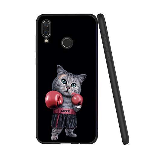 Pnakqil Funda Huawei P Smart Plus/Nova 3i Silicona Ultrafina Negra con Dibujos Diseño Antigolpes de Protector Piel Case Cover Cárcasa Fundas para Movil Huawei PSmart + / Nova3i, Boxeo de Gato
