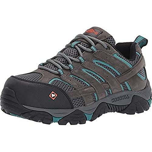 Merrell Women's Moab Vertex Vent Comp Toe Work Shoes, Pewter, 6