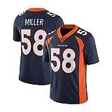 Von Miller n ° 58 Denver Broncos Maillot de Rugby pour Hommes, Fan Sweat-Shirt Maillot d'athlète Maillot de supporteur Maillot à séchage Rapide Maillot Maillot de Rugby rétro, S-3XL-Royalblue-M