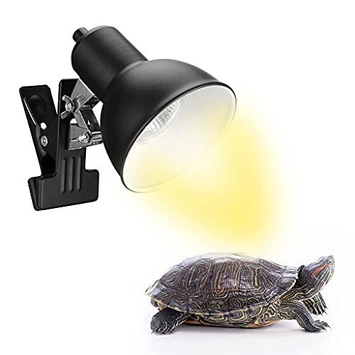 Lámpara de calor de tortuga, lámpara de calor de reptil, lámpara de tortuga con clip de conector ajustable, lámpara de calentamiento, bombillas UVA/UVB (25 W / 50 W / 75 W), lámpara de luz de cale