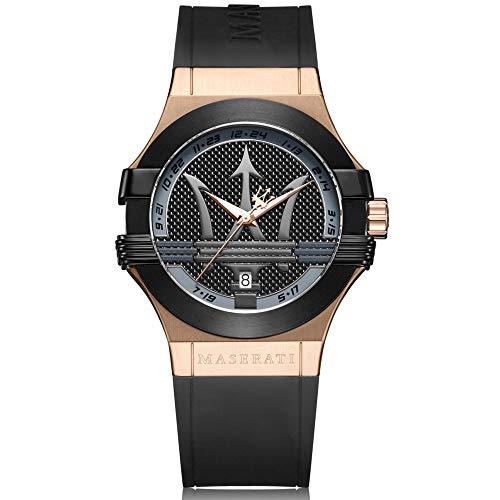 Orologio da uomo, Collezione Potenza, movimento al quarzo, tempo e data, in acciaio, PVD oro rosa, PVD nero e poliuretano - R8851108002