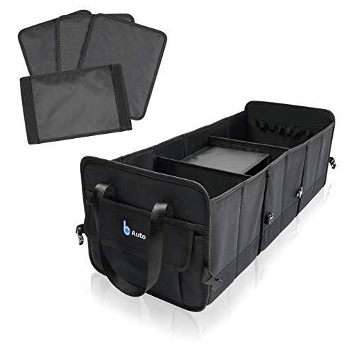 BCAuto Faltbarer Auto Kofferraum Organizer | Größenverstellbare Auto Kofferraumtasche | Universal Auto Aufbewahrungstasche | Multi-Abteil für Ordnung im KFZ | Oxford 600 D | Schwarz